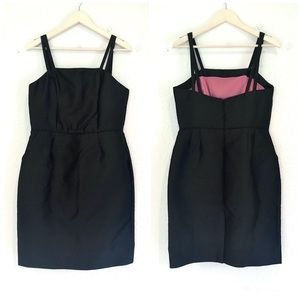 Vintage Style Black Silk Cocktail Dress 50s 60s